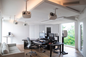 World-renown composer for films Carter Burwell returned to John Storyk and commissioned WSDG a new recording studio at his ultra modern Maziar Behrooz-designed home. Control Room Side View.