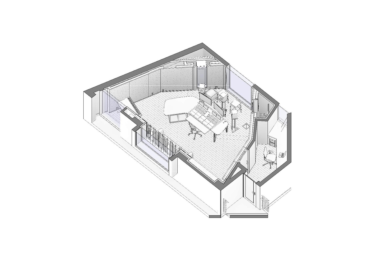 World-renown composer for films Carter Burwell returned to John Storyk and commissioned WSDG a new recording studio at his ultra modern Maziar Behrooz-designed home. Axonometric view.