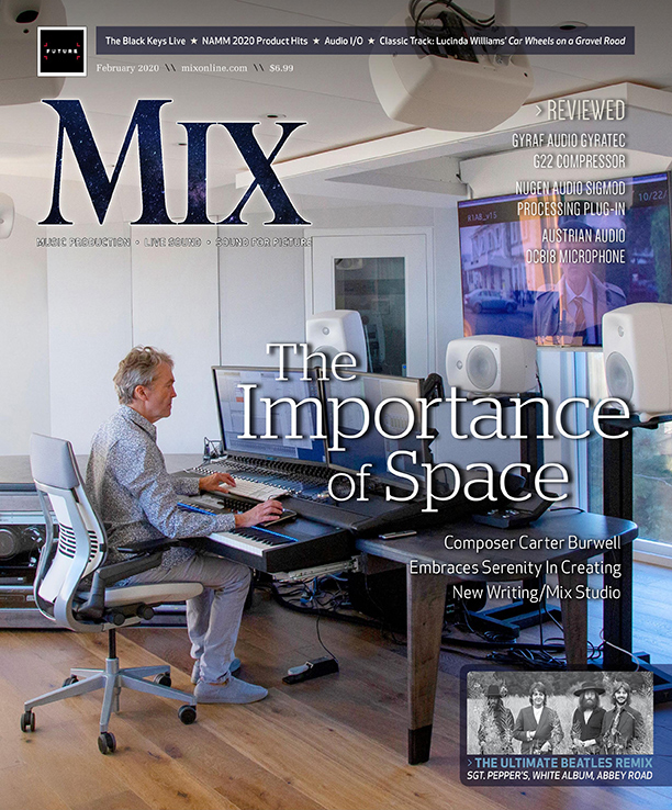 Composer Carter Burwell featured at Cover of Mix Magazine on February 2020. New recording studio designed by WSDG, wonderful acoustics, modern white studio in New York state. Cover.