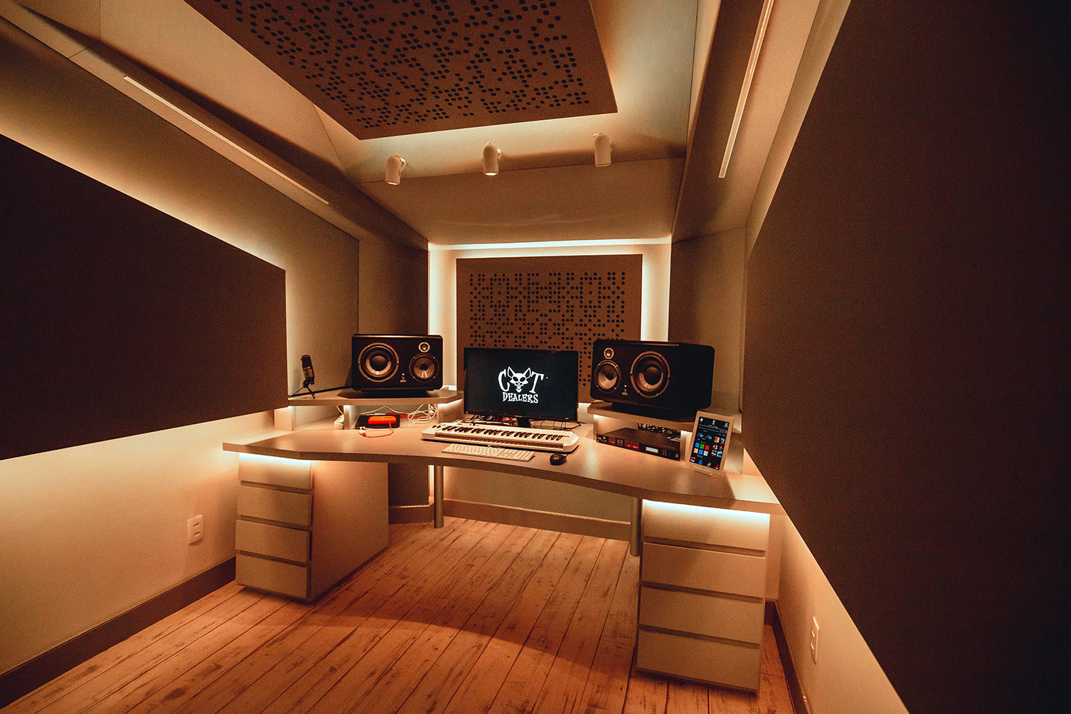 Recognizing the value of superior studio design / acoustic excellence, Hit recording duo Cat Dealers commissioned WSDG to create a compact yet powerful dream recording studio. Best Project Studio Design. Yellow Light.