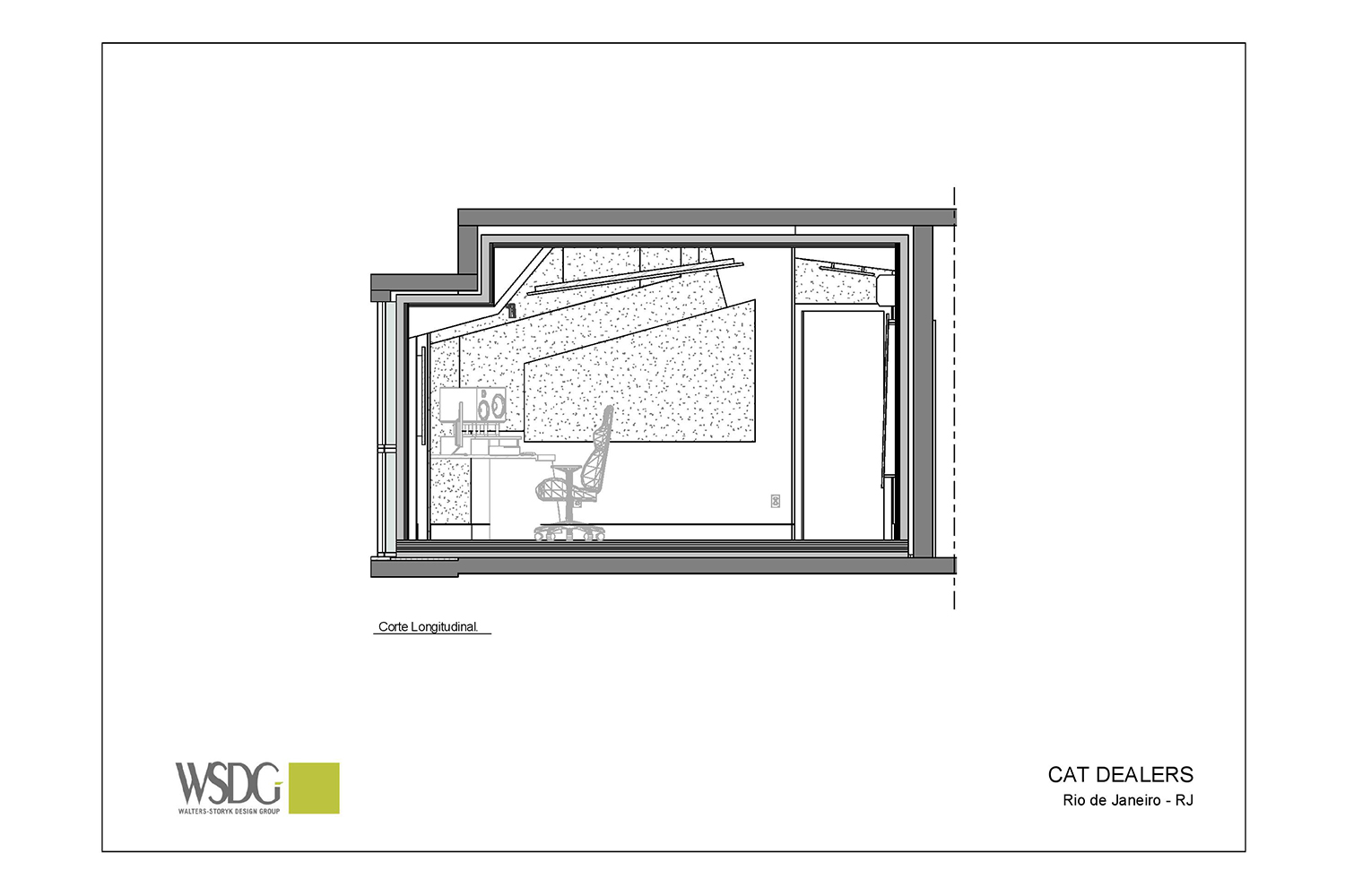 Recognizing the value of superior studio design / acoustic excellence, Hit recording duo Cat Dealers commissioned WSDG to create a compact yet powerful dream recording studio. Best Project Studio Design. Presentation Drawing 2.