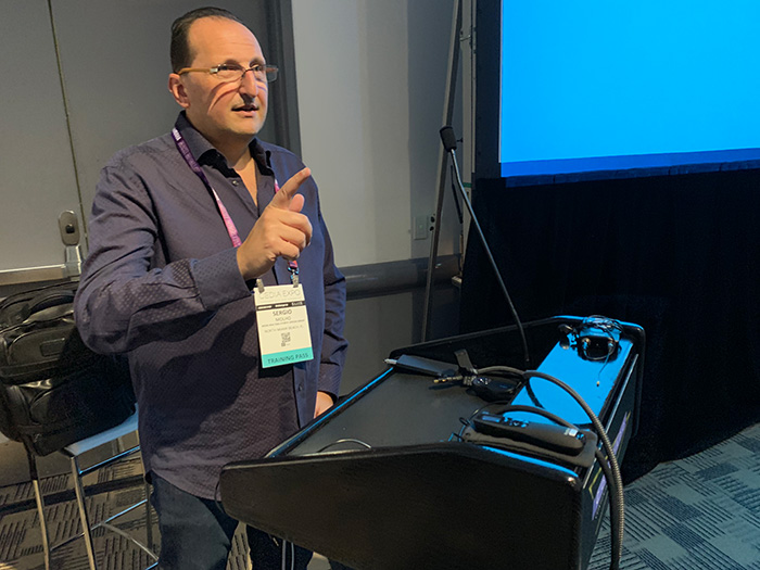 Cedia 2019, Sergio Molho giving a lecture of acoustics and media systems designa and engineering. Denver, Colorado.