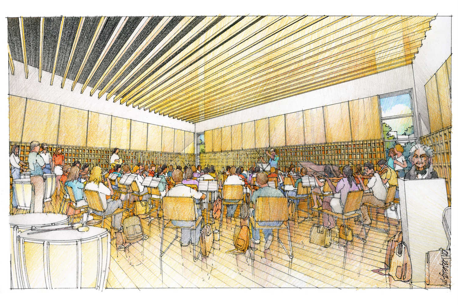 Concordia University Irvine, WSDG was commissioned for the design and acoustics of the facility. Sketch orchestra room