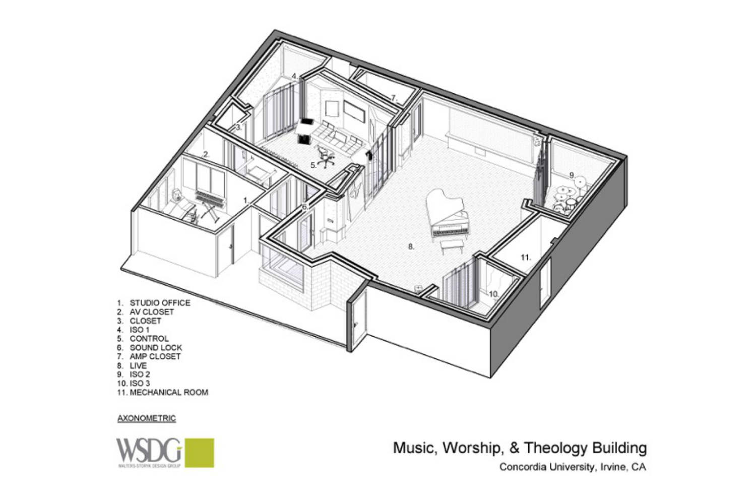Concordia University Irvine, WSDG was commissioned for the design and acoustics of the facility. Presentation Drawing 1