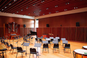 Concordia University Irvine, WSDG was commissioned for the design, acoustic consulting and systems integration of their new audio complex. Orchestra Room/Hall.