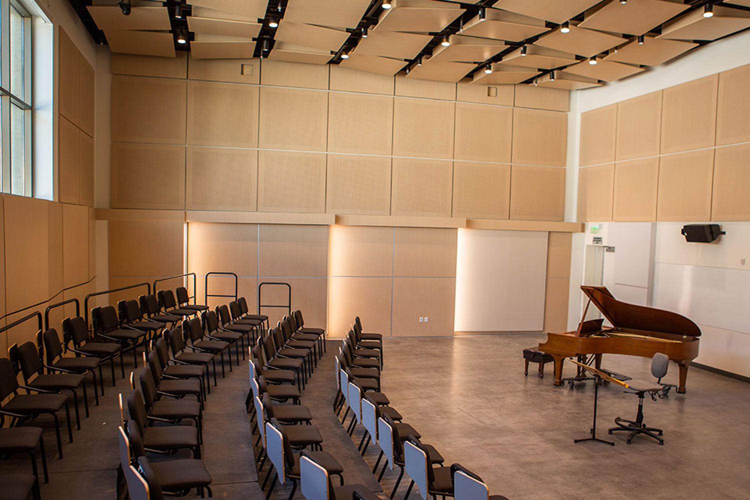 Concordia University Irvine, WSDG was commissioned for the design, acoustic consulting and systems integration of their new audio complex. Piano Performance Hall.