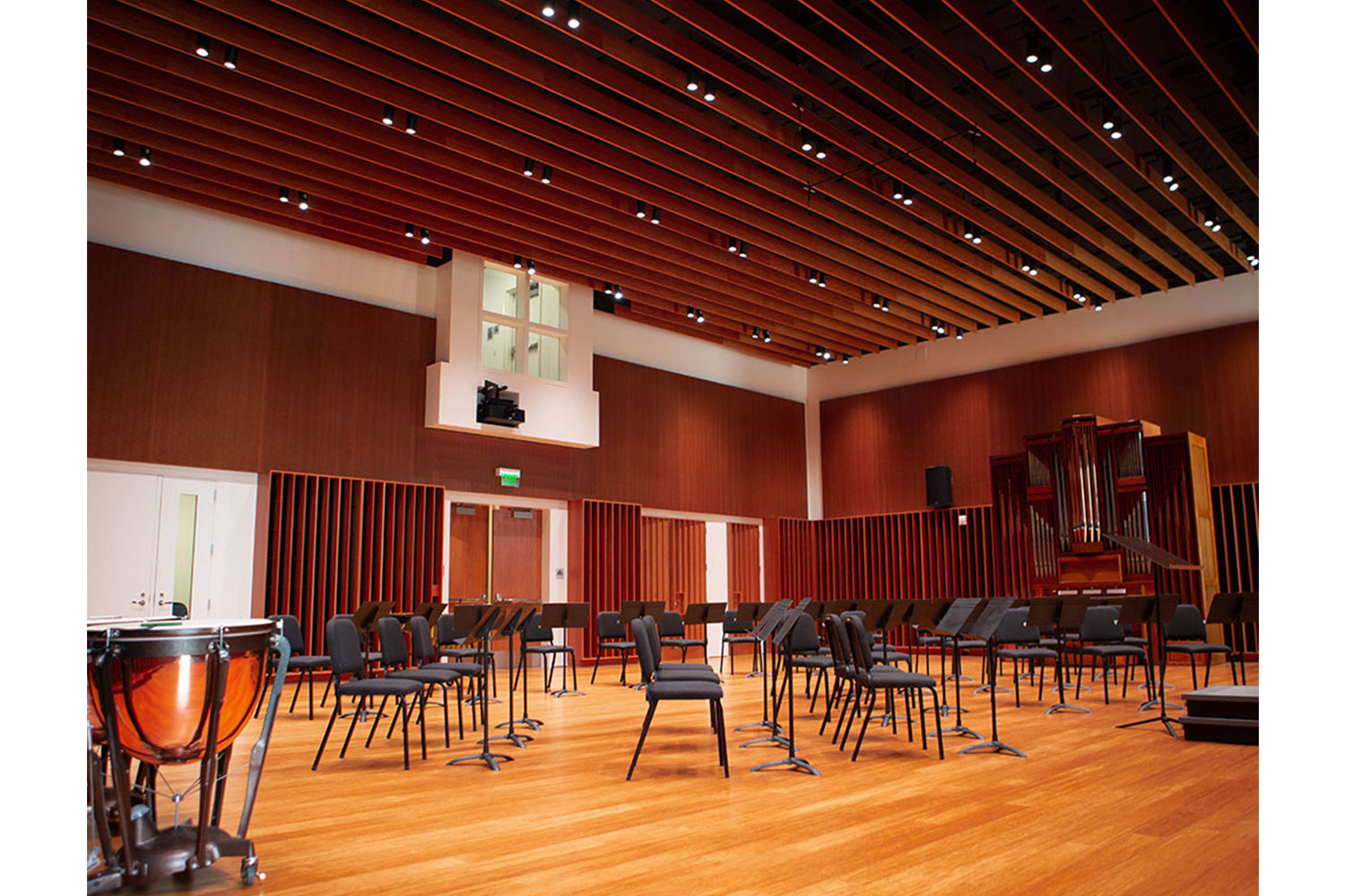 Concordia University Irvine, WSDG was commissioned for the design, acoustic consulting and systems integration of their new audio complex. Orchestra Room/Hall 2.