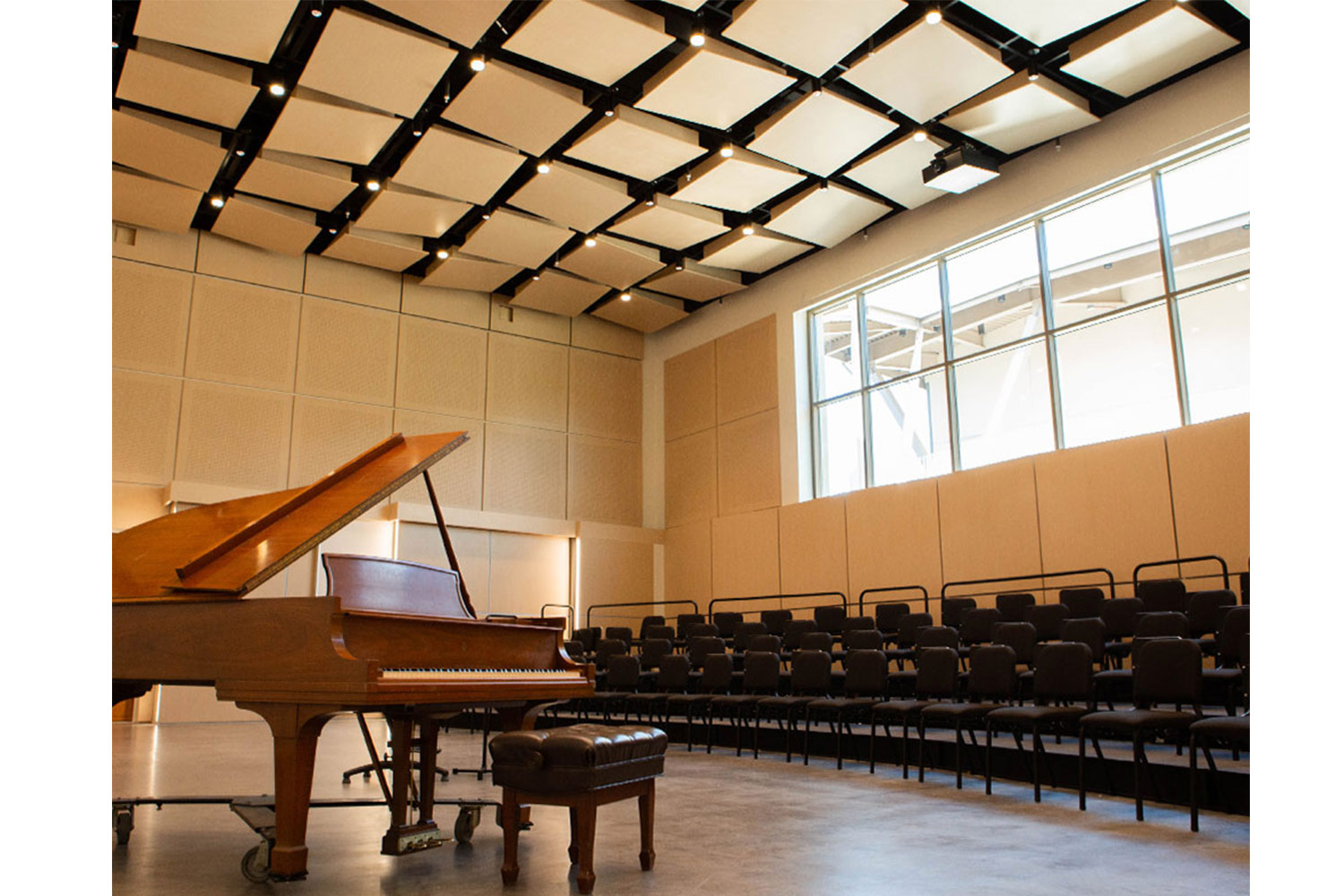 Concordia University Irvine, WSDG was commissioned for the design, acoustic consulting and systems integration of their new audio complex. Piano Performance Hall 2.