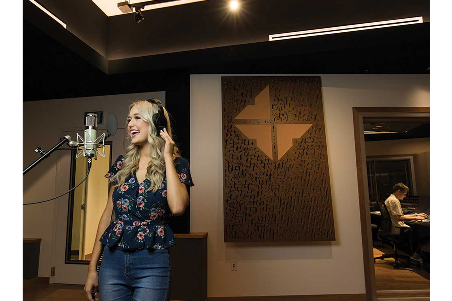 Concordia University Irvine, WSDG was commissioned for the design, acoustic consulting and systems integration of their new audio complex. Live Room Vocal Recording.