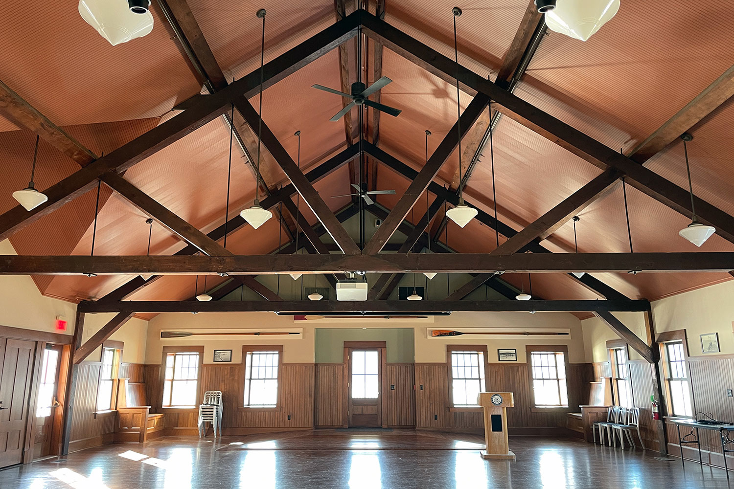 The Cornell boathouse at Marist College. WSDG improved the acoustic quality inside the space. Front.