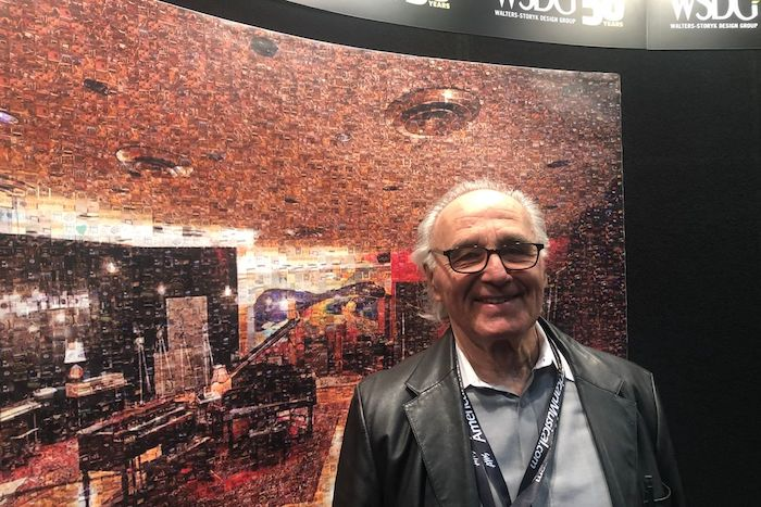 Dr. Peter D'Antonio, director of research and development, WSDG, at the WSDG booth at AES 2019.
