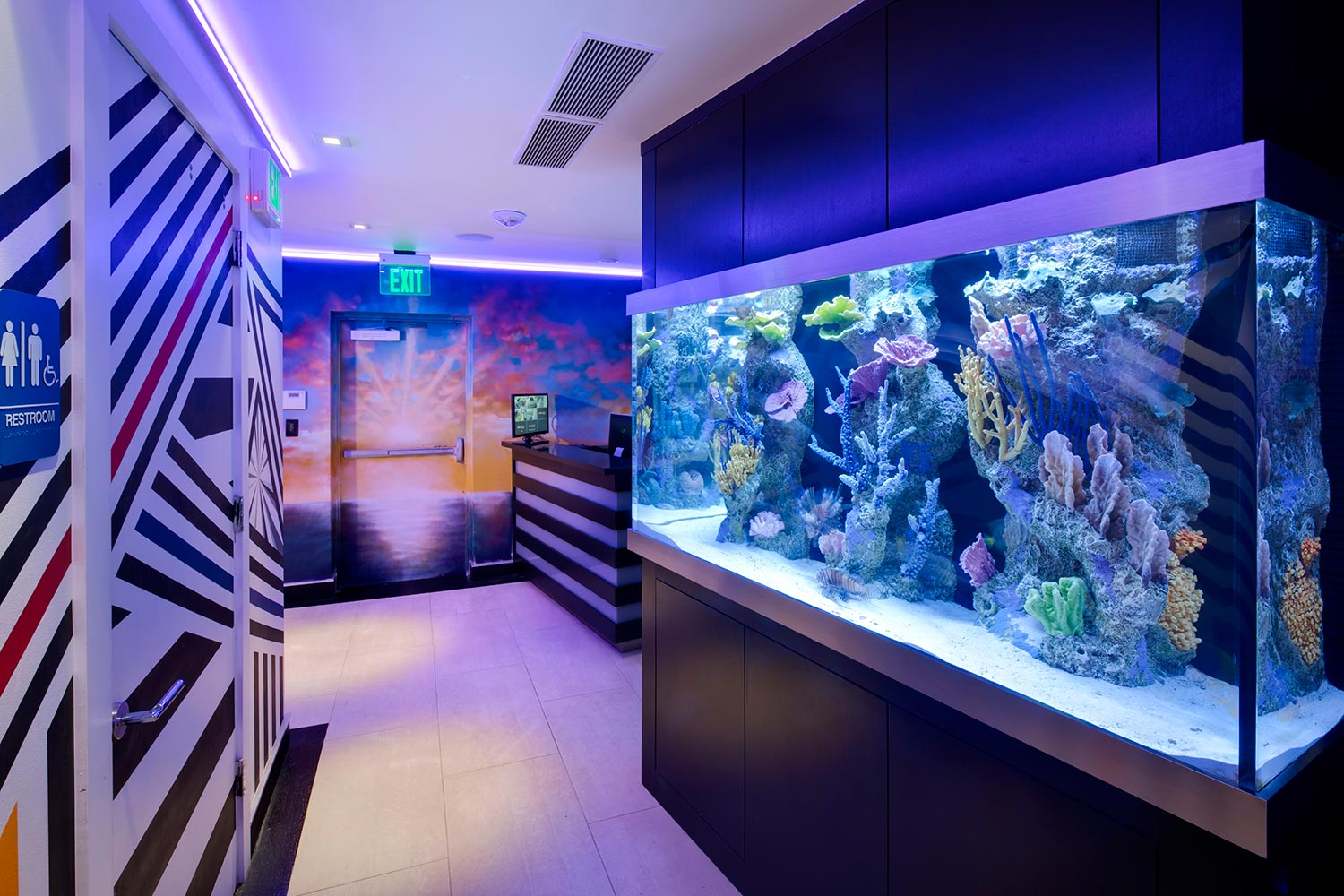 Two of the contemporary music scene's most prolific hit producers and mixing engineer, Nate 'Danja' Hills and Marcella Araica have added a cutting edge, WSDG recording studio to their N.A.R.S. (New Age Rock Stars) label. Studio entrance w fish tank.