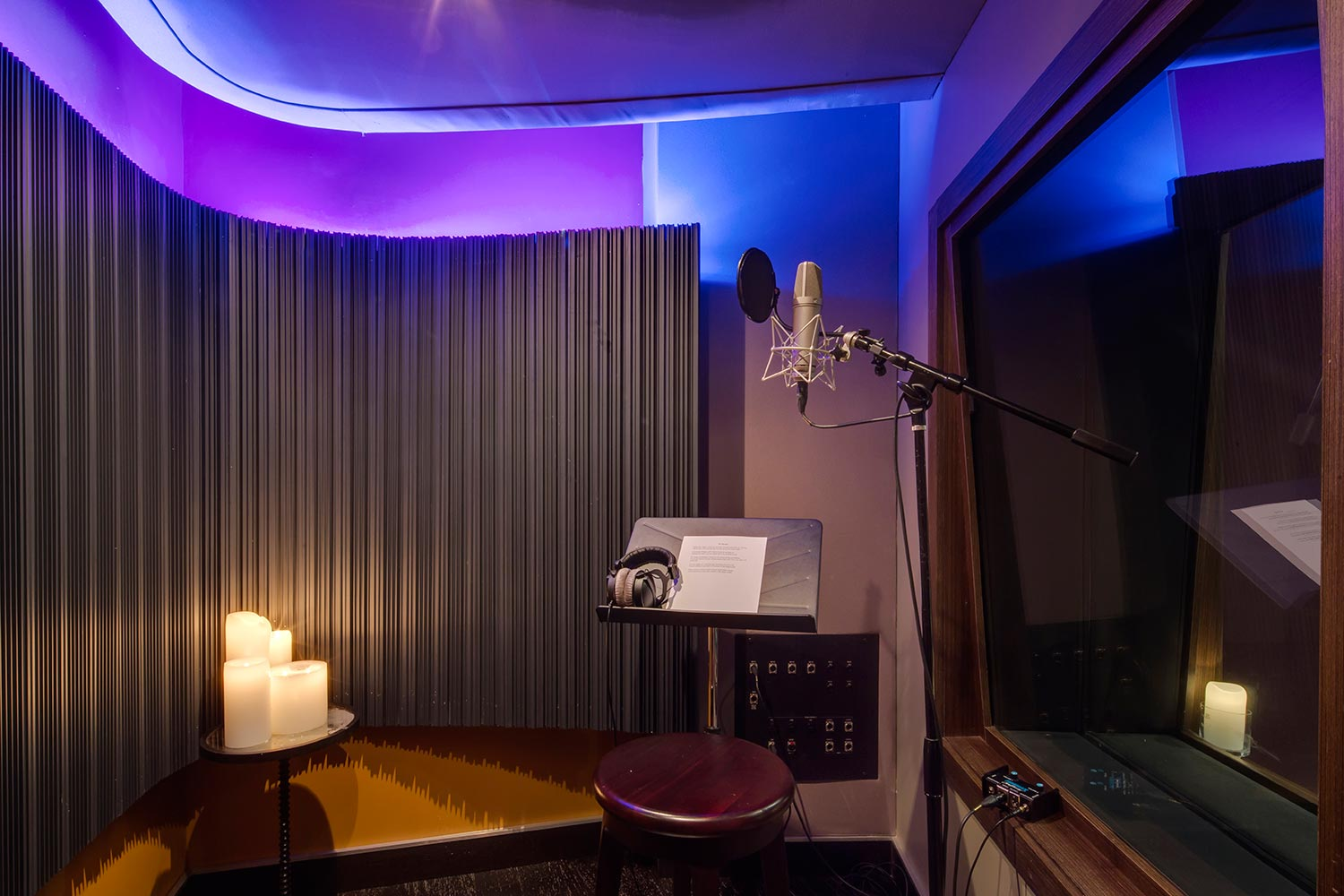 Two of the contemporary music scene's most prolific hit producers and mixing engineer, Nate 'Danja' Hills and Marcella Araica have added a cutting edge, WSDG recording studio to their N.A.R.S. (New Age Rock Stars) label. Vocal booth.