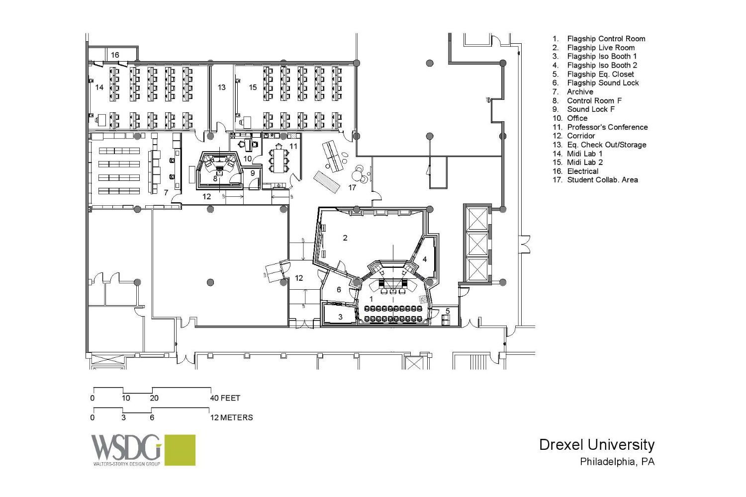 Drexel University in Philadelphia, PA is one of America's 15 largest universities. Their brand-new recording facilities, designed by the WSDG team, expands their music and recording program. Presentation drawing 1