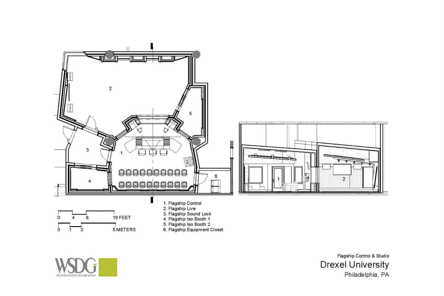 Drexel University in Philadelphia, PA is one of America's 15 largest universities. Their brand-new recording facilities, designed by the WSDG team, expands their music and recording program. Presentation drawing 2