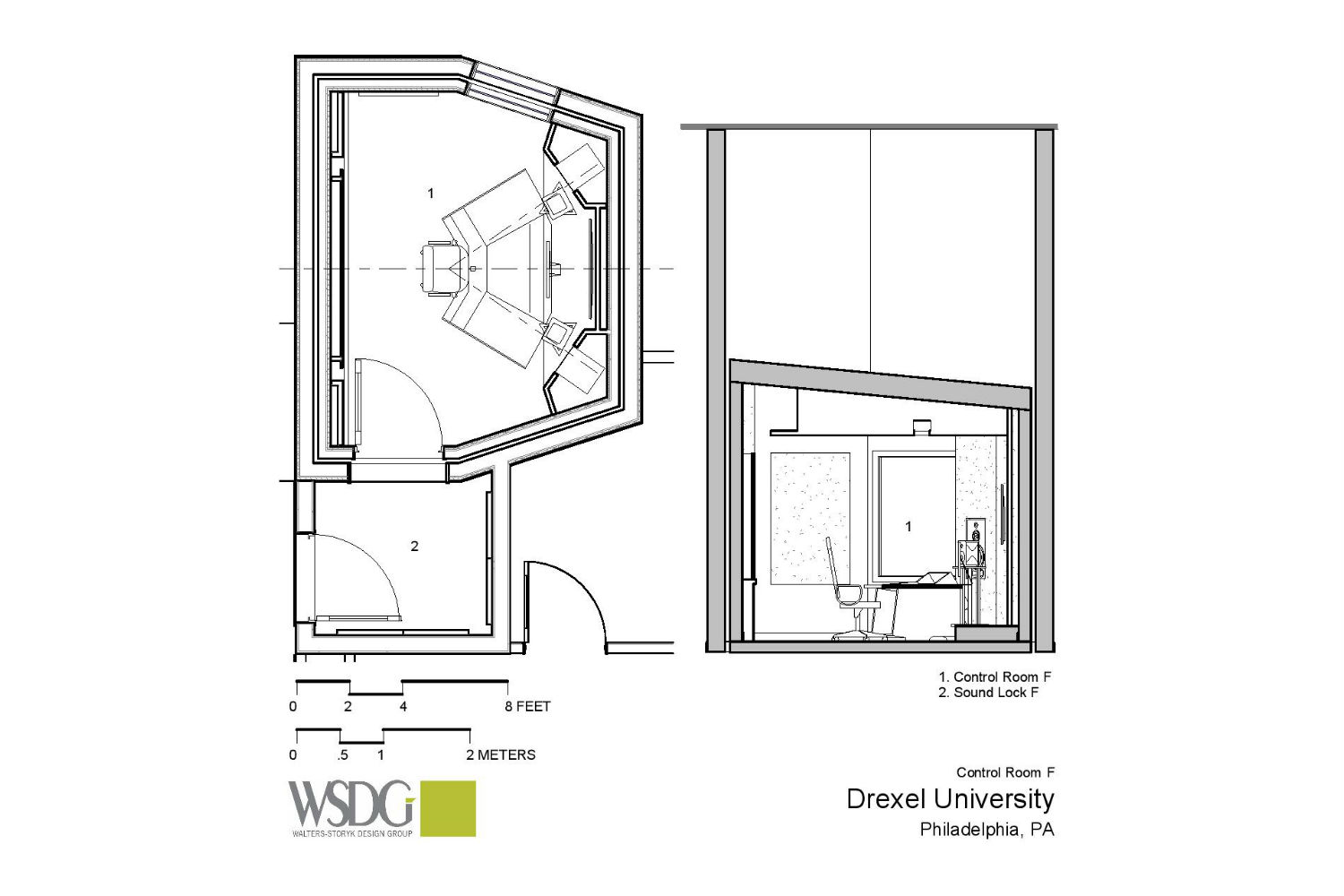 Drexel University in Philadelphia, PA is one of America's 15 largest universities. Their brand-new recording facilities, designed by the WSDG team, expands their music and recording program. Presentation drawing 3
