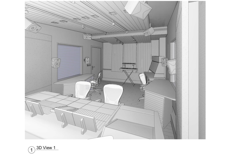 ELON University new Immersive audio control room designed by WSDG. 3D Render 1.