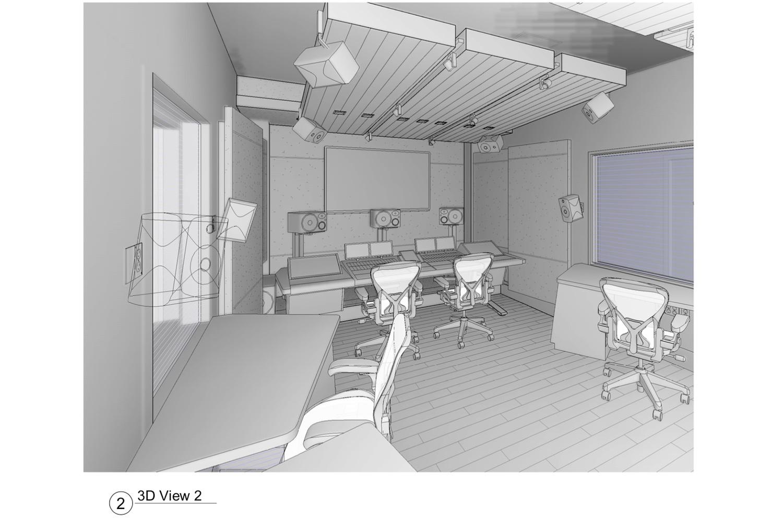 ELON University new Immersive audio control room designed by WSDG. 3D Render 2.