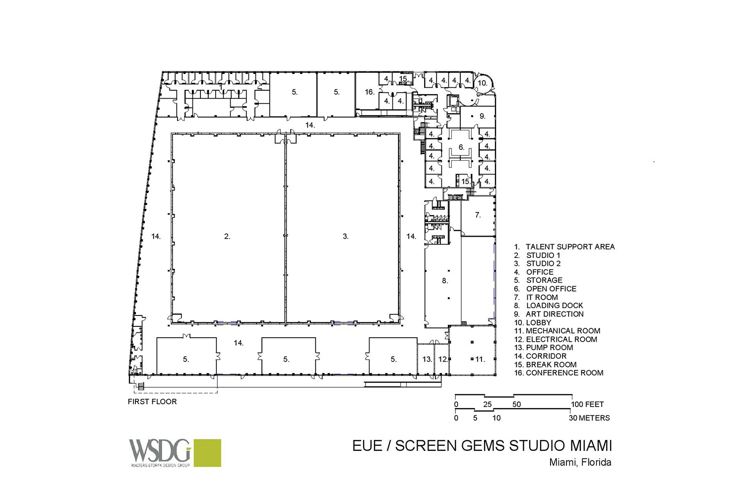 Viacom International/EUE/Screen Gems Studios recently completed construction on an 88,000 sq. ft. studio complex in Miami. WSDG was reached for an intensive feasibility study, cost/benefit analysis, and AV Systems Integration. Presentation Drawing 1.