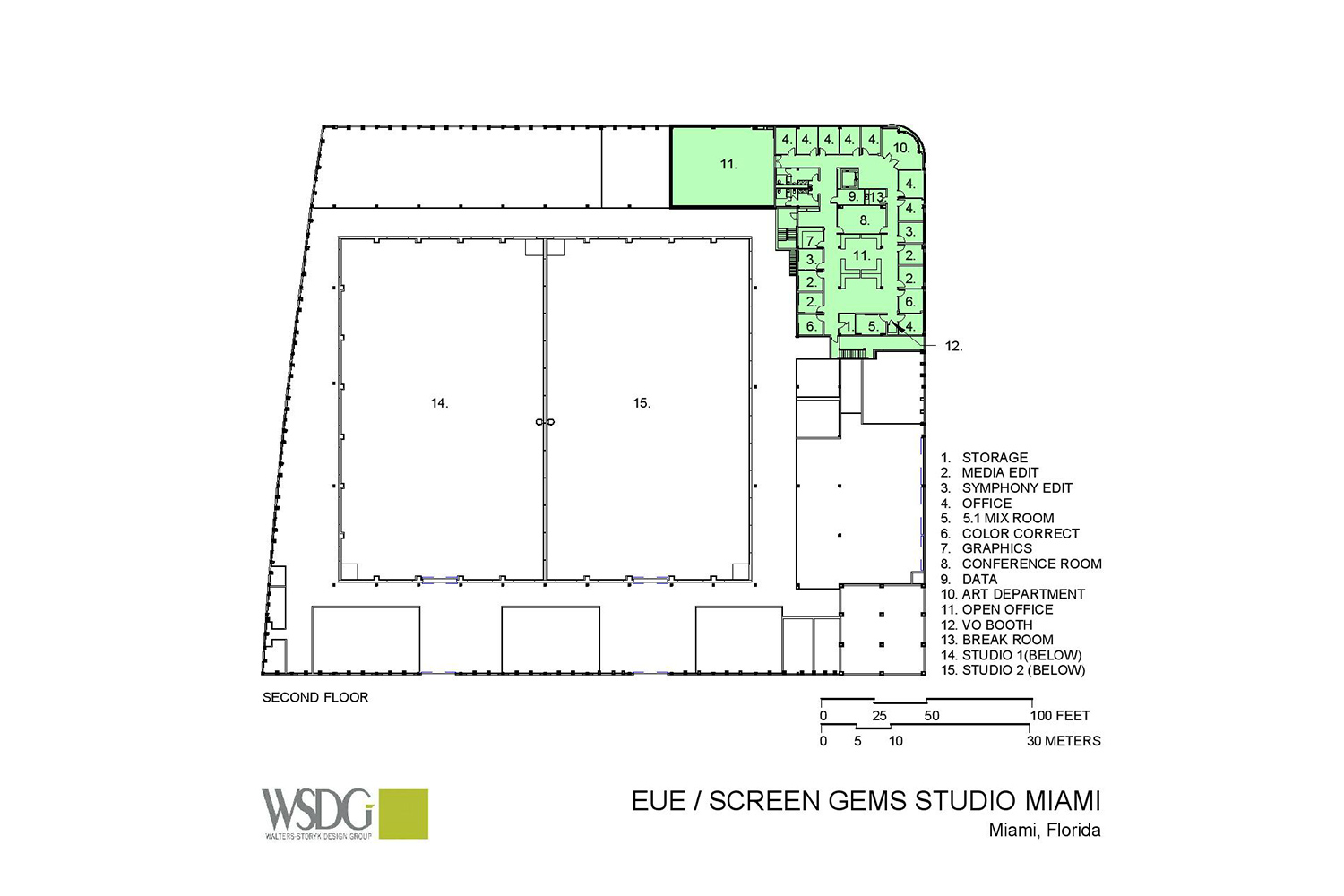 Viacom International/EUE/Screen Gems Studios recently completed construction on an 88,000 sq. ft. studio complex in Miami. WSDG was reached for an intensive feasibility study, cost/benefit analysis, and AV Systems Integration. Presentation Drawing 2.
