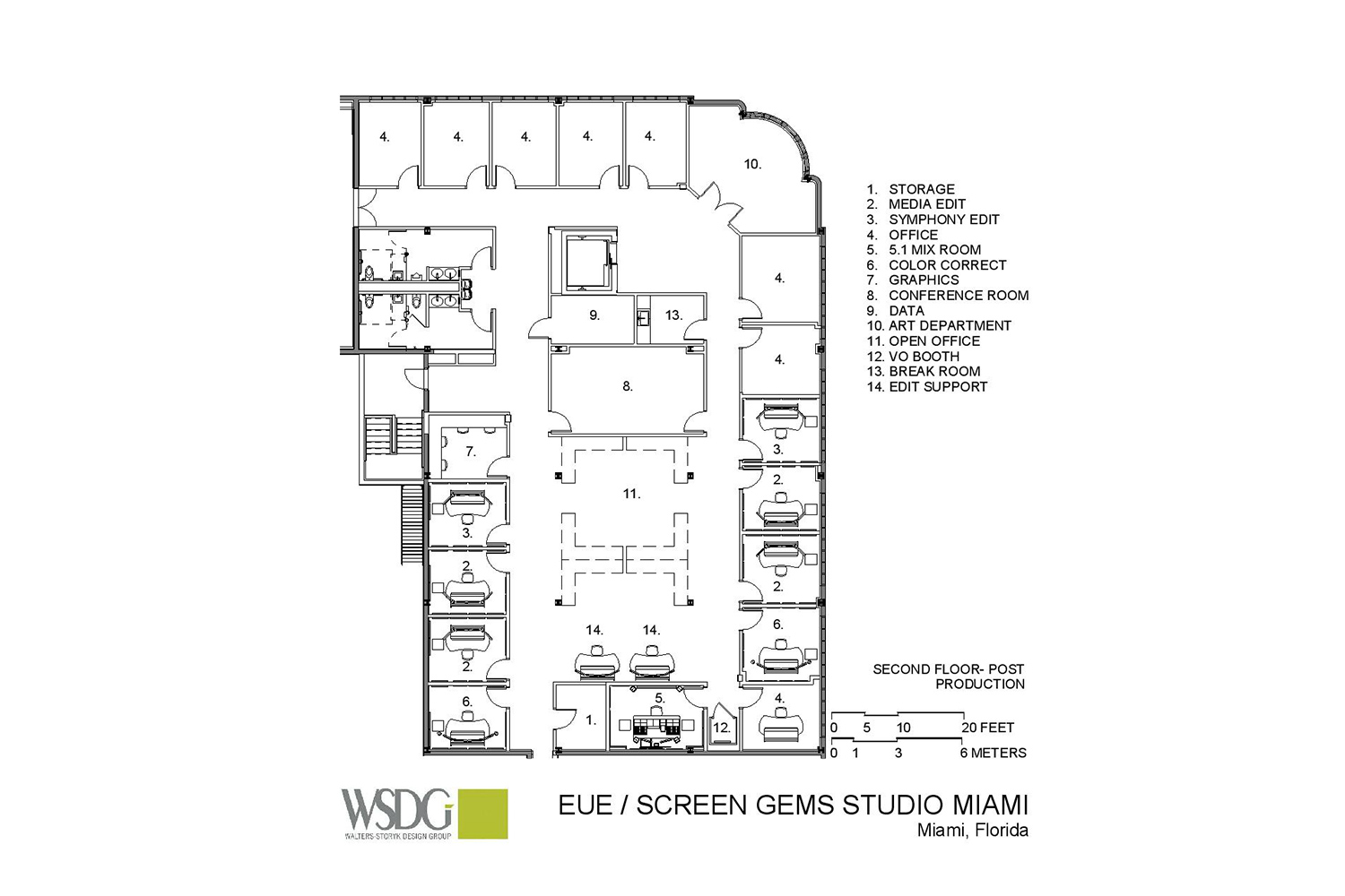 Viacom International/EUE/Screen Gems Studios recently completed construction on an 88,000 sq. ft. studio complex in Miami. WSDG was reached for an intensive feasibility study, cost/benefit analysis, and AV Systems Integration. Presentation Drawing 3.