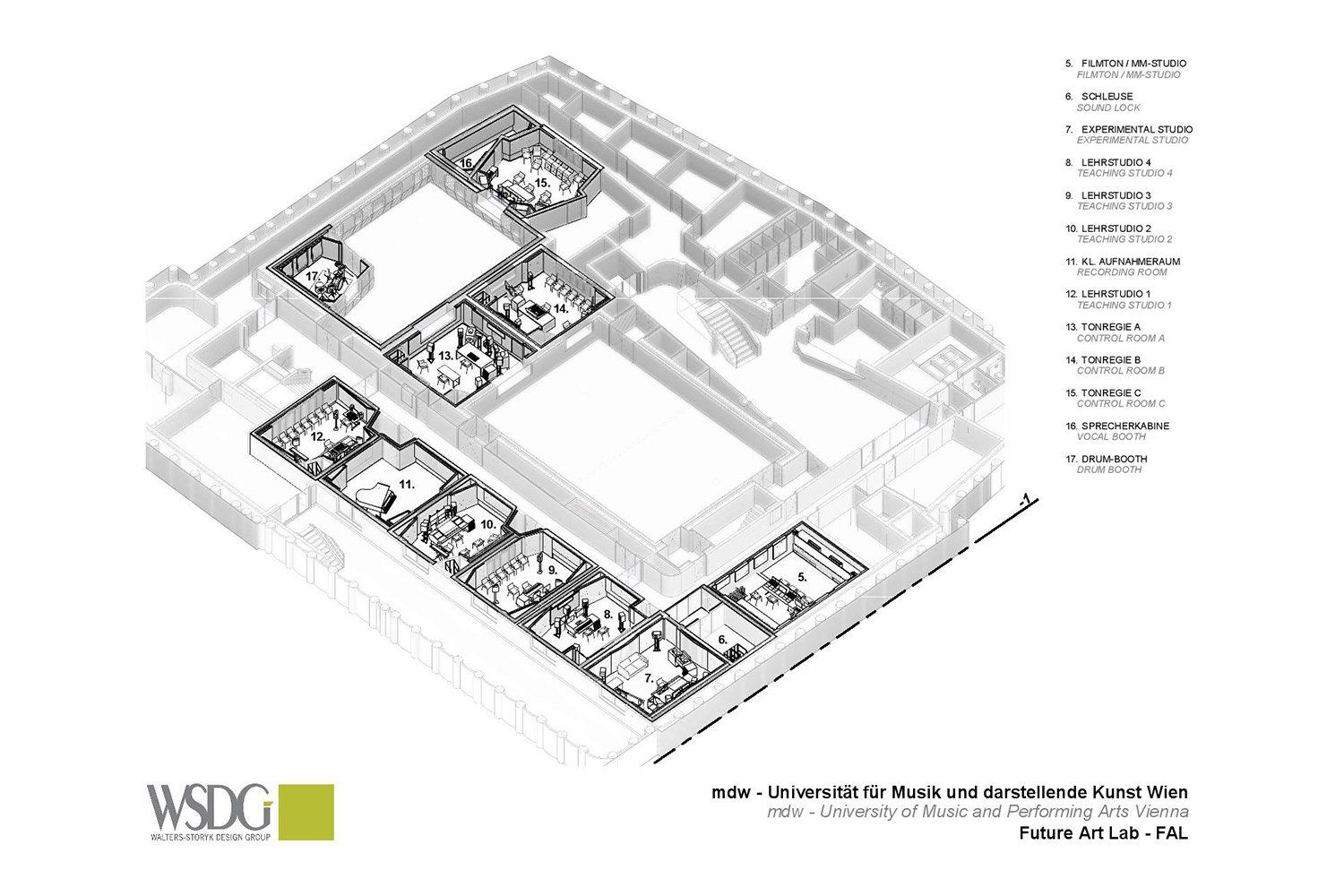 The University of Music and Performing Arts of Vienna new Future Art Lab designed by WSDG. Presentation drawing 3.
