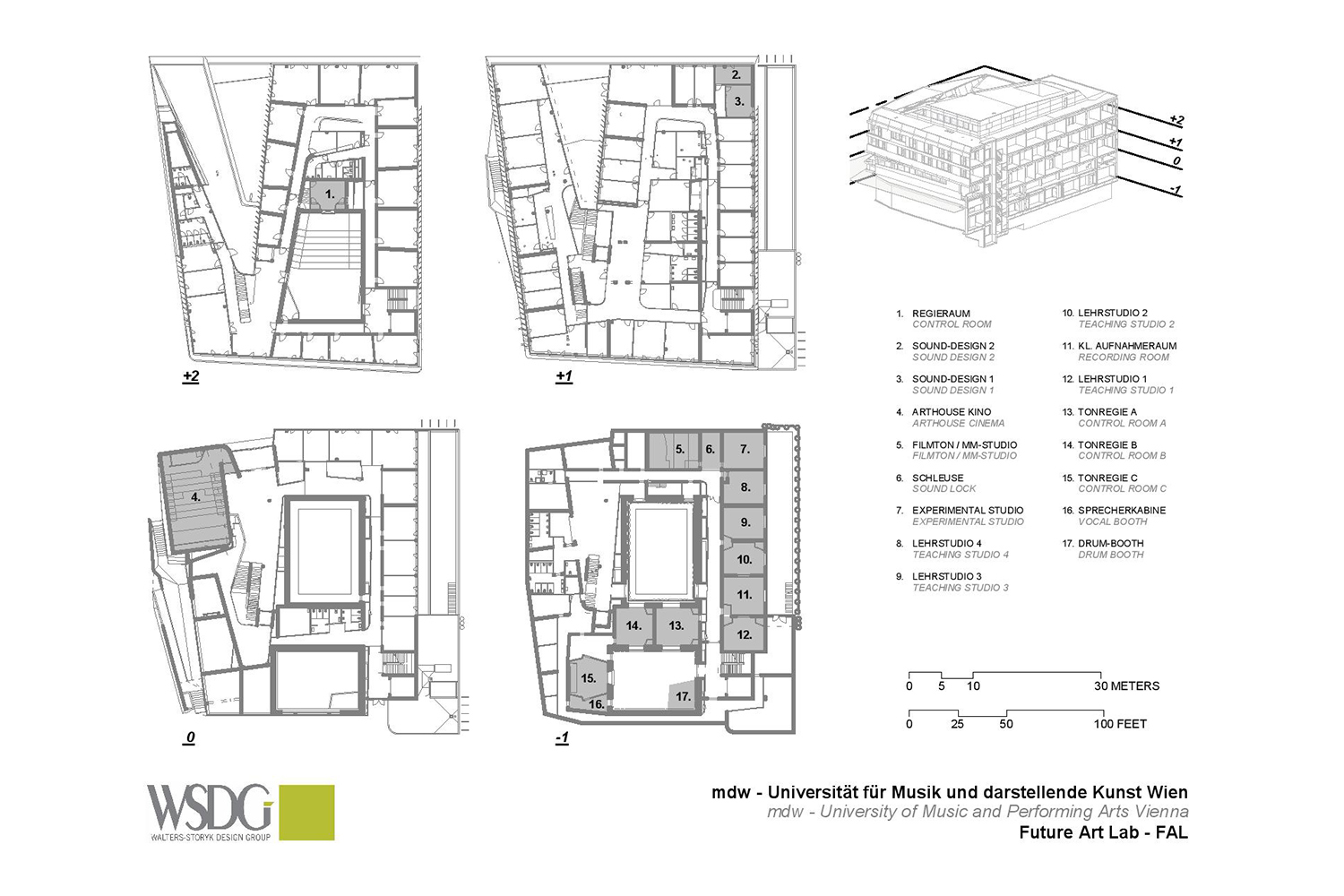 The University of Music and Performing Arts of Vienna new Future Art Lab designed by WSDG. Presentation drawing 1.