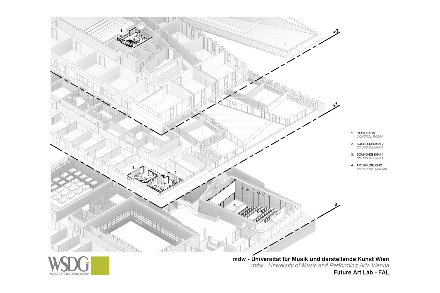 The University of Music and Performing Arts of Vienna new Future Art Lab designed by WSDG. Presentation drawing 2.