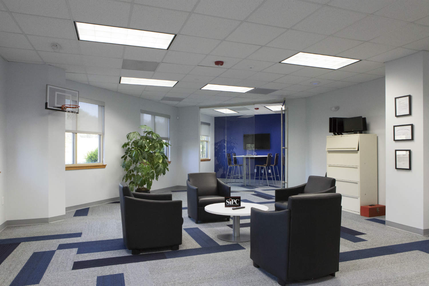 Falcon Square Capital in Raleigh, NC - Internal Room Acoustics and Isolation by WSDG - Main Common Space and Office
