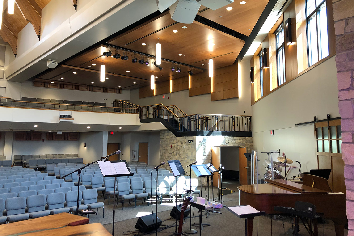 The First Lutheran Church of Fargo, ND engaged WSDG to develop an acoustic and sound isolation program for their newly constructed Celebration Center. Celebration Center Musicians View.