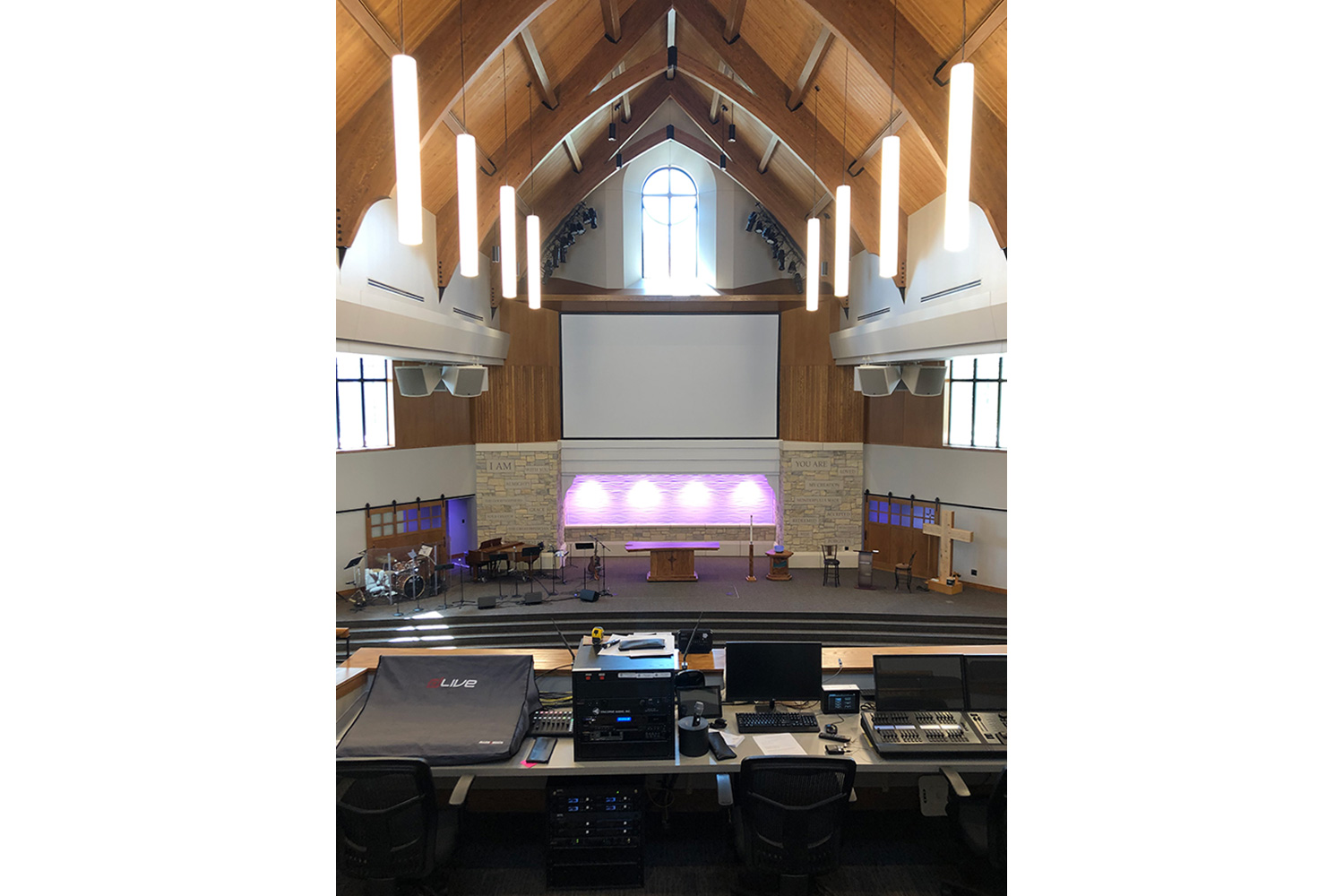 First Lutheran Church of Fargo, ND mixing desk view.