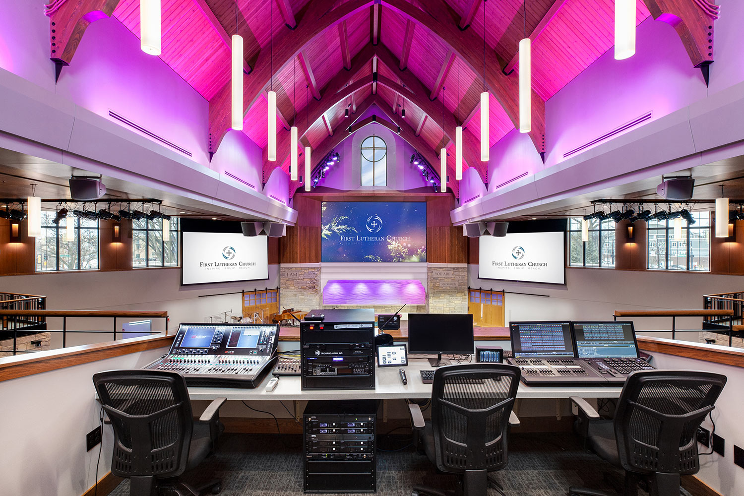 First Lutheran Church live mixing board. AV Integration by WSDG.