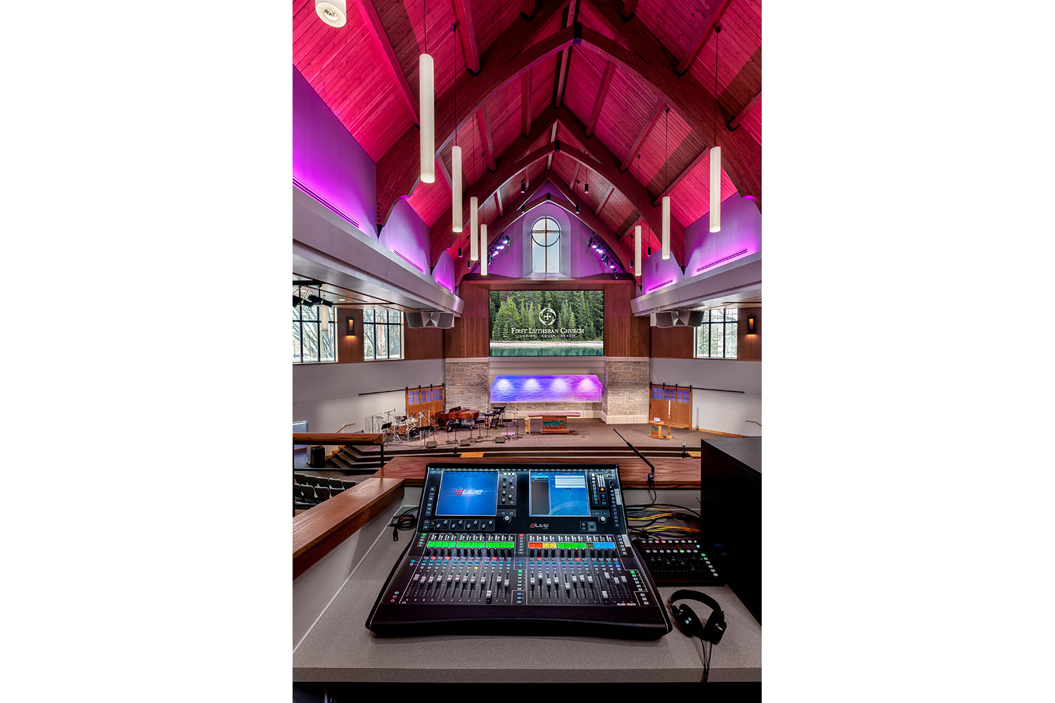 Live mixing console view, AV Systems integration by WSDG. Church in Fargo, ND.