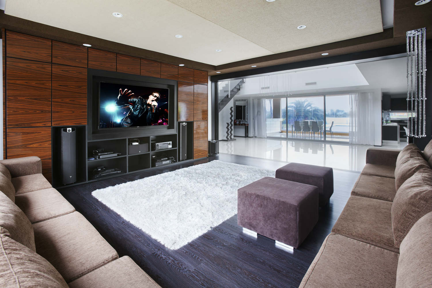 Casa Fontela in Buenos Aires, Argentina designed by WSDG. Home Theater at daylight