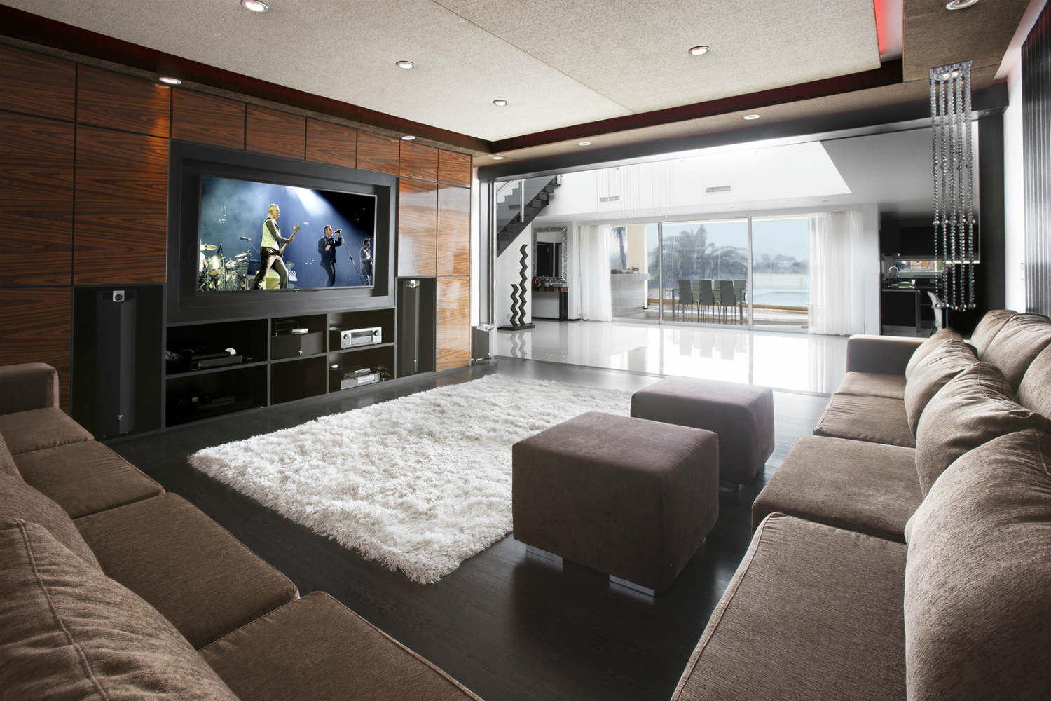 Casa Fontela in Buenos Aires, Argentina designed by WSDG. Home Theater at day light.