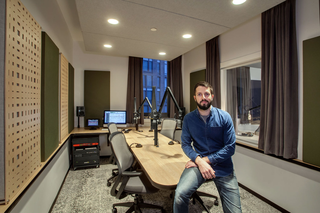 Gimlet Media, the award winning podcast production company is setting the standard in podcast creation studios with its new 28,000 square foot production facility. Designed by the acoustic architectural firm WSDG, it catapults Gimlet's podcasting operations from a modest studio operation to a commercial-grade. Audio engineer Austin Thompson at Studio 3.