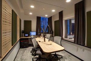 Gimlet Media, the award winning podcast production company is setting the standard in podcast creation studios with its new 28,000 square foot production facility. Designed by the acoustic architectural firm WSDG, it catapults Gimlet's podcasting operations from a modest studio operation to a commercial-grade. Studio 3.