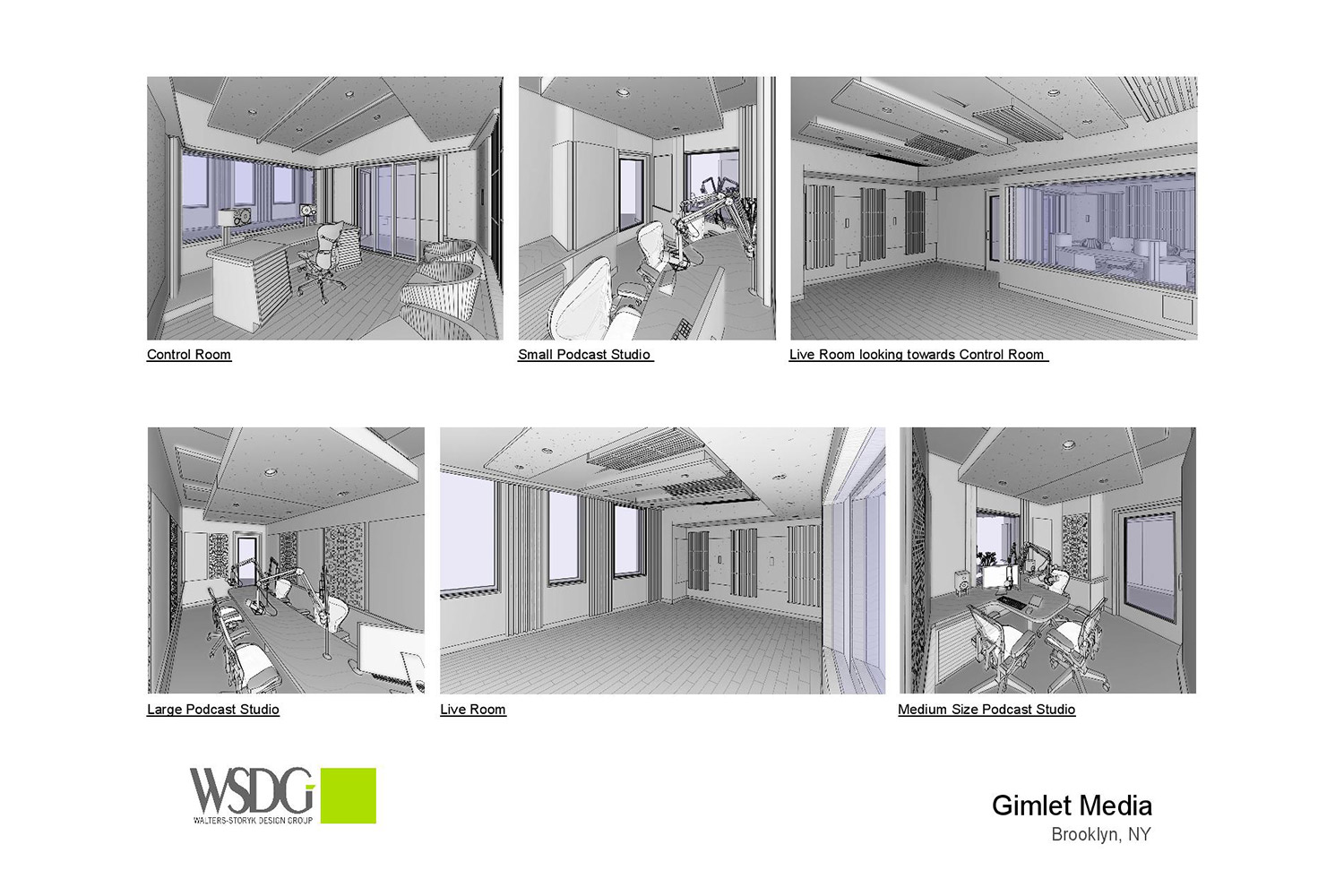 Gimlet Media, the award winning podcast production company is setting the standard in podcast creation studios with its new 28,000 square foot production facility. Designed by the acoustic architectural firm WSDG, it catapults Gimlet's podcasting operations from a modest studio operation to a commercial-grade. 3D renders.