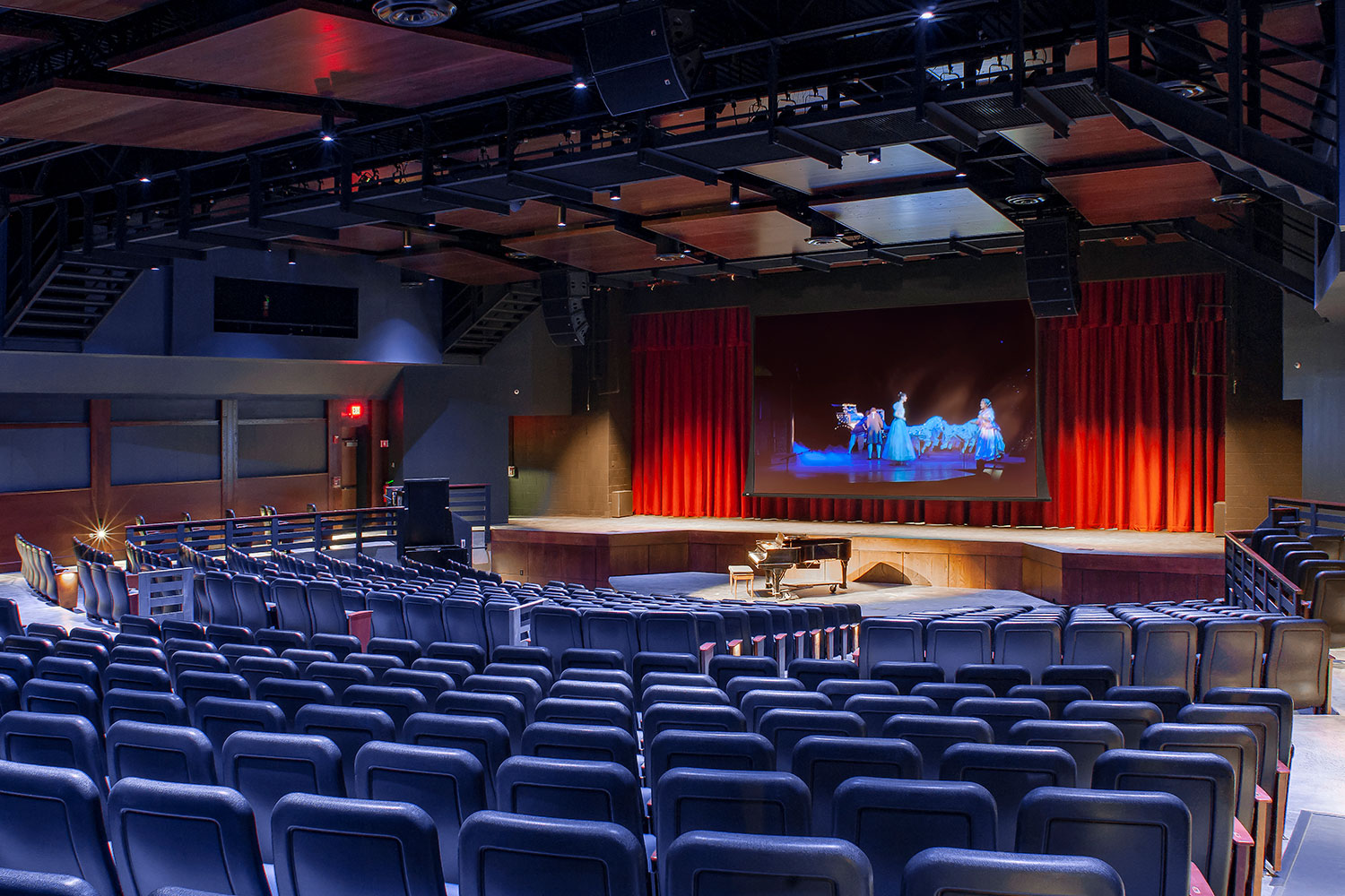 Goshen High School new auditorium in Goshen, NY. WSDG was retained to acoustically measure the space and collaborate on the redesign with LAN Associates to optimize the space for these needs while still retaining the aesthetic goals of the redesign. Front side view.