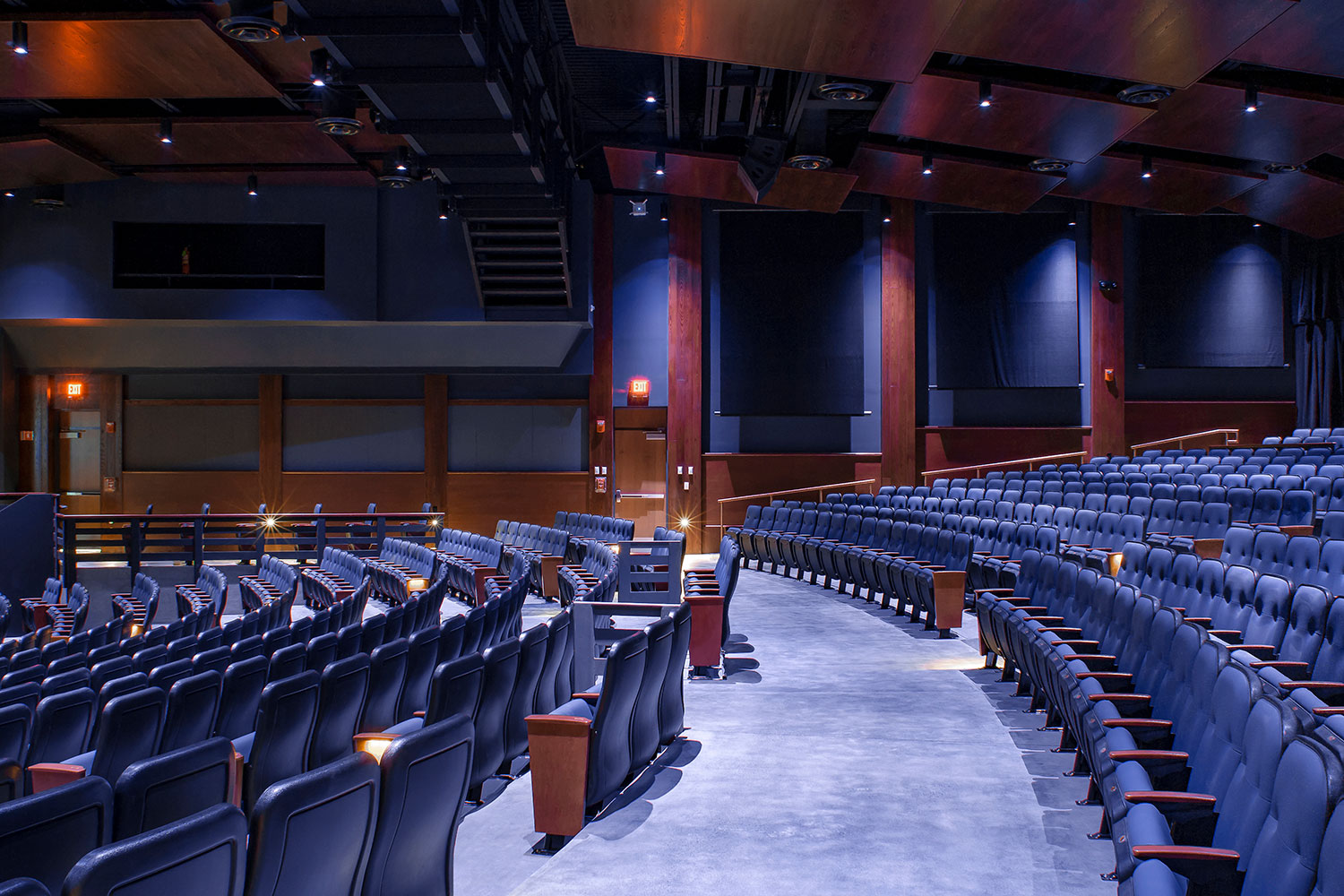 Goshen High School new auditorium in Goshen, NY. WSDG was retained to acoustically measure the space and collaborate on the redesign with LAN Associates to optimize the space for these needs while still retaining the aesthetic goals of the redesign. Side View.