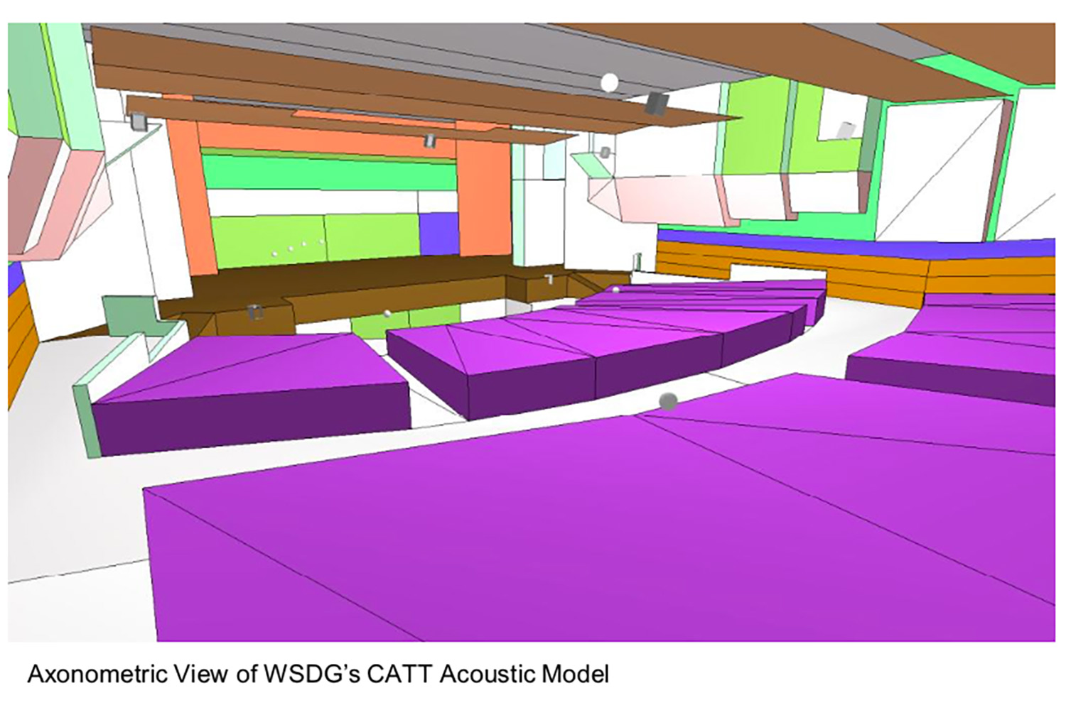 Goshen High School new auditorium in Goshen, NY. WSDG was retained to acoustically measure the space and collaborate on the redesign with LAN Associates to optimize the space for these needs while still retaining the aesthetic goals of the redesign. Axonometric View.