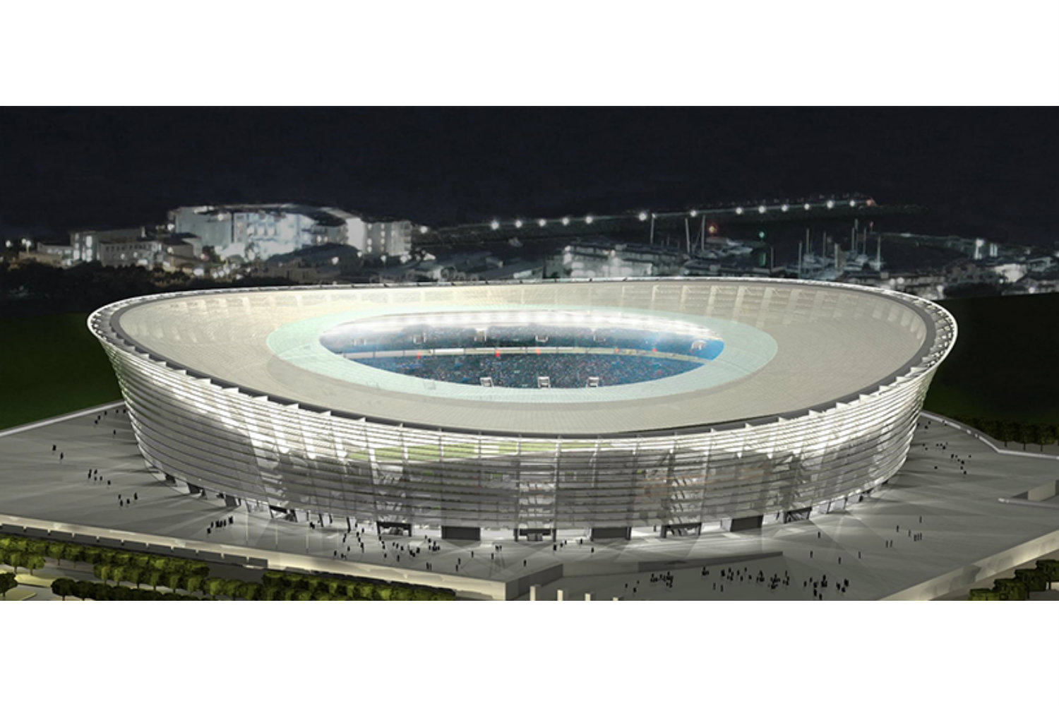 Green Point Stadium in Cape Town, South Africa. Noise emissions and consulting by ADA-AMC, a WSDG Company. Render