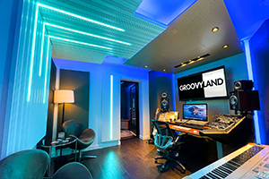 Groovyland Studios in North Miami Beach, owned by producer David Molho. Residential e-recording studio. Control Room.