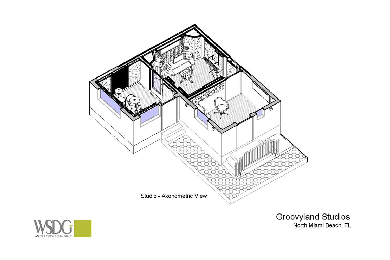 Groovyland Studios axonometric view by WSDG.