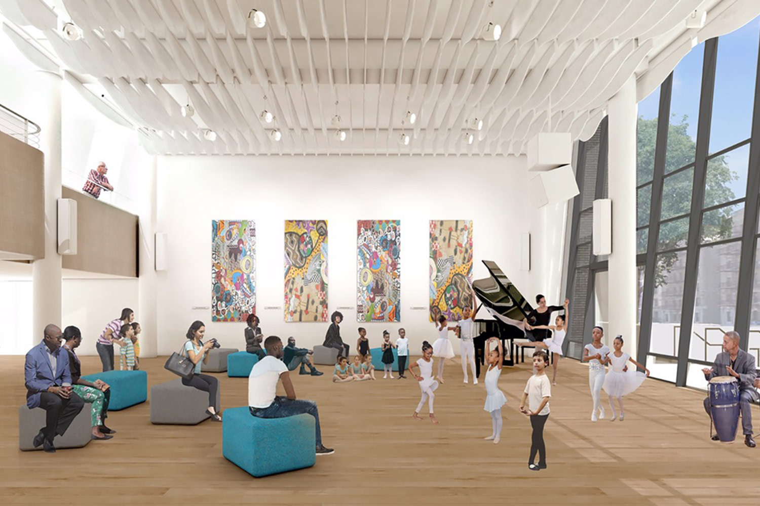 "the Herb Alpert Foundation, is funding the core element of the $9.5 million Harlem School of the Arts ""Renaissance Project."" the Alpert's were convinced that the leading architectural/acoustic/systems design firm WSDG embodied a philosophical synergy that fully aligned with their goals for the school building's renovation. Herb Alpert Center interior render."