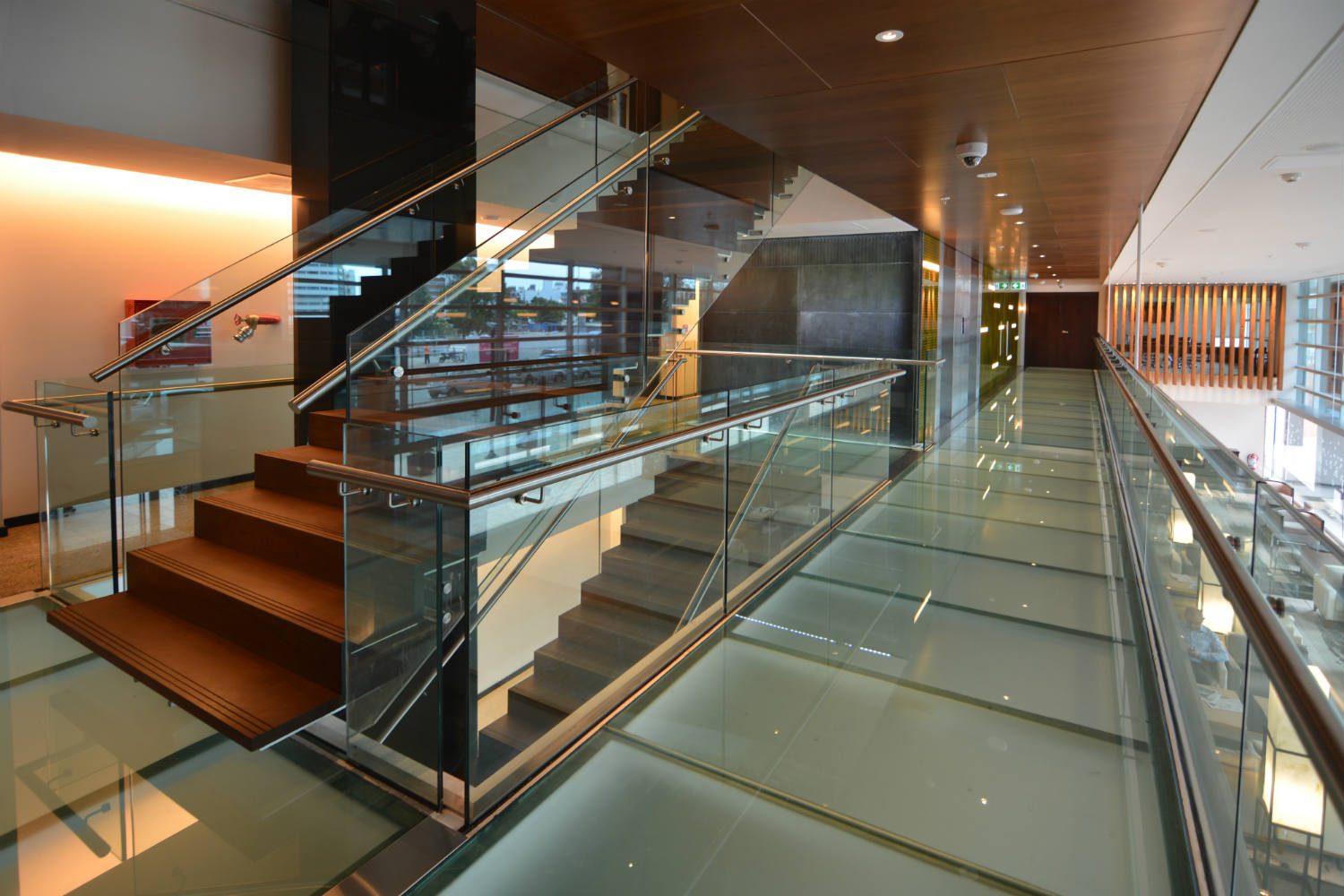 Hilton Garden Inn in Montevideo, Uruguay. Invisible acoustics designed and install by WSDG - WSDG Latin, Sergio Molho and Silvia Molho. Stairs