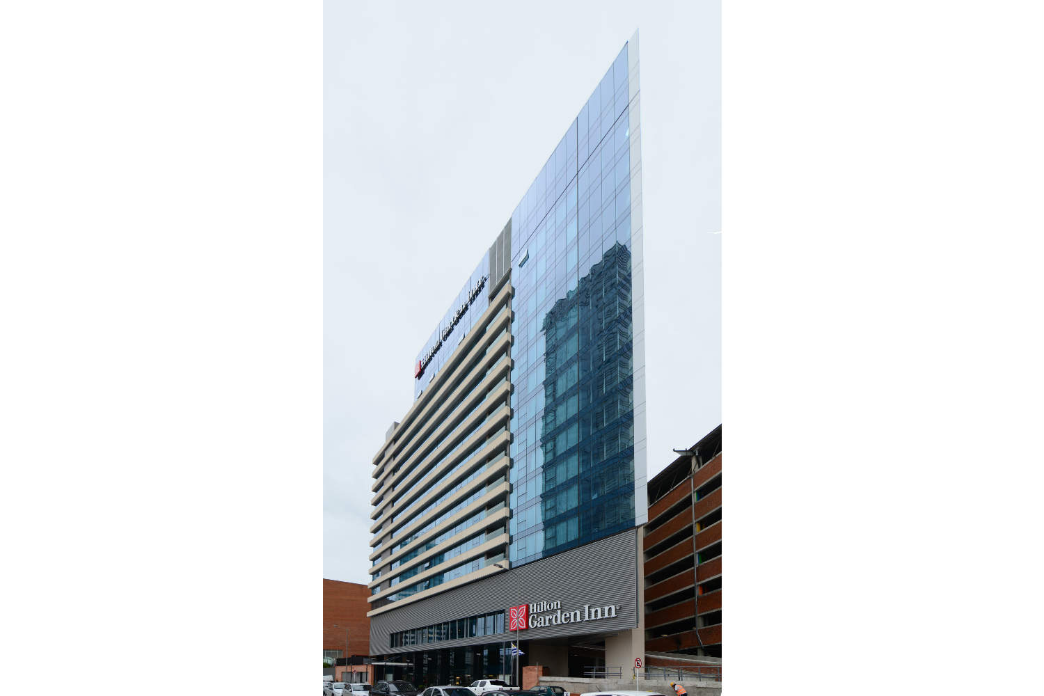 Hilton Garden Inn in Montevideo, Uruguay. Invisible acoustics designed and install by WSDG - WSDG Latin, Sergio Molho and Silvia Molho. Façade 1