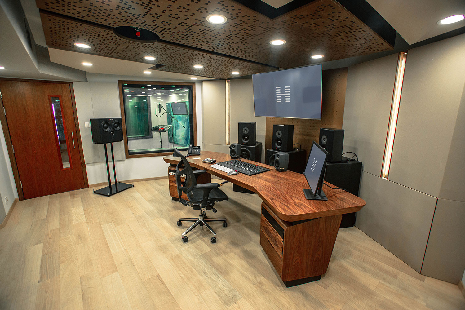 Hogarth Mexico international advertising communications agency studio. WSDG has been retained to create a recording studio complex for the leading international Advertising/Marketing/ Communication company's new Mexico City offices. Control Room Side.