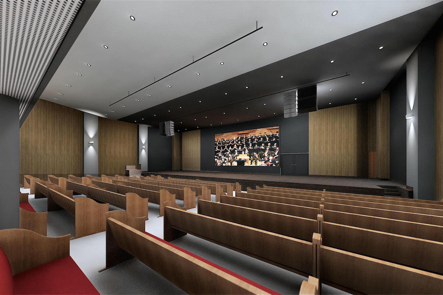 IBP has created a contemporary house of worship in São José. By engaging WSDG at the design stage, the Church planners were assured of providing their parishioners with superb acoustics for their worship services. Render 1