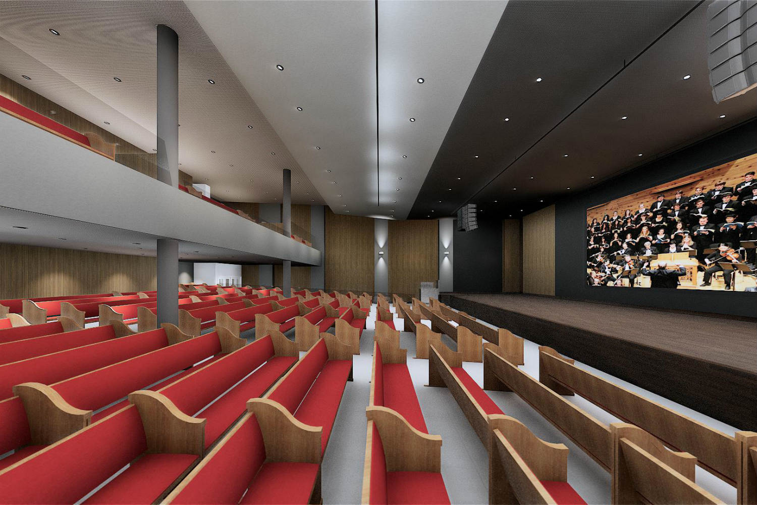 IBP has created a contemporary house of worship in São José. By engaging WSDG at the design stage, the Church planners were assured of providing their parishioners with superb acoustics for their worship services. Render 4